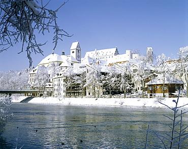 Fuessen on the Lech river, Bavarian Swabia, Bavaria, Germany, Europe