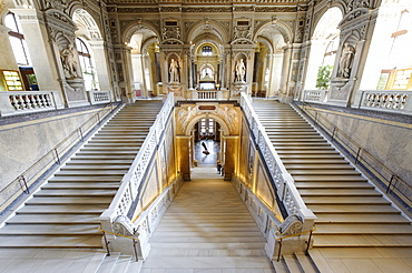 Staircase, cupola, Museum of Natural History, Maria Theresienplatz square, 1st district, Vienna, Austria, Europe