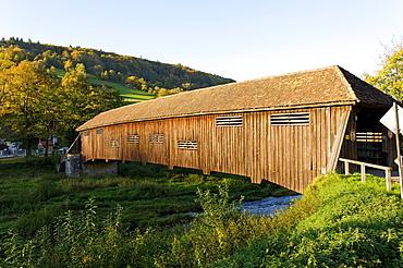 Covered bridge across the Jagst River, Unterregenbach, Langenburg an der Jagst, Baden-Wuerttemberg, Germany, Europe
