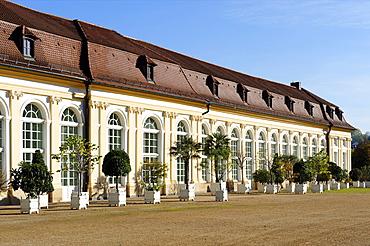 Orangery, court garden, Ansbach, Middle Franconia, Bavaria, Germany, Europe