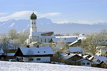 Hoarfrost in front of Mt. Zugspitze in the Wettersteingebirge range, Muensing, Upper Bavaria, Bavaria, Germany, Europe