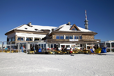 Cima Restaurant on the mountaintop plateau on Kronplatz mountain, 2272 m, Kronplatz winter sport region, Bruneck, Puster Valley, Province of Bolzano-Bozen, Italy, Europe