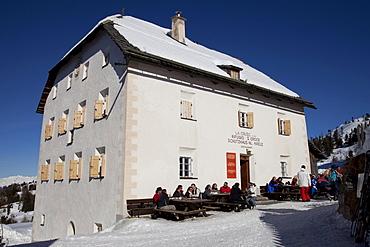 La Crusc, 2045m, restaurant and refuge Heiliges Kreuz on Mt. Heiligkreuzkofel, Fanes mountains, Fanes-Sennes-Prags Nature Park, Val Badia, Alta Badia, Dolomites, South Tyrol, Italy, Europe