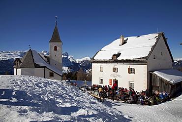 Sanctuary and refuge Heiliges Kreuz, 2045m, restaurant, Fanes mountains, Fanes-Sennes-Prags Nature Park, Val Badia, Alta Badia, Dolomites, South Tyrol, Italy, Europe