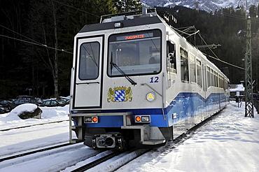 Bayerische Zugspitzbahn Bavarian railway on Mt. Zugspitze, cog railway, at Garmisch-Partenkirchen, Bavaria, Germany, Europe