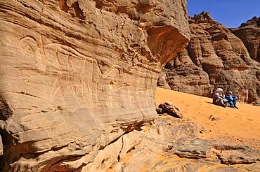 Neolithic rock art panel with Tuareg of the Tadrart, Tassili n'Ajjer National Park, Unesco World Heritage Site, Algeria, Sahara, North Africa