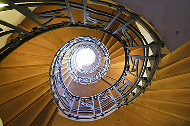 University library in Heidelberg, interior view, art nouveau, staircase, circular stairs, Heidelberg, Baden-Wuerttemberg, Germany, Europe