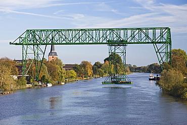 Transporter bridge over the Oste River between Osten and Hemmoor, Lower Saxony, Germany, Europe
