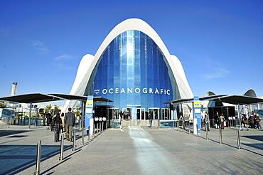 Entrance to the Oceanografic marine park, Ciudad de las Artes y las Ciencias, City of Arts and Sciences, designed by Spanish architect Santiago Calatrava, Valencia, Comunidad Valenciana, Spain, Europe