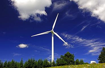 Wind turbines at Mont Crosin Wind Power Station, St. Imier, Jura, Switzerland, Europe