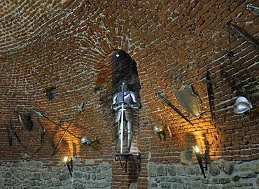 Armour and weapons in the restaurant in the former powder storage room of the fortress of Alba Julia, Karlsburg, Romania, Europe
