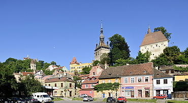 View of the medieval old town, UNESCO World Heritage Site, Sighisoara, Transylvania, Romania, Europe