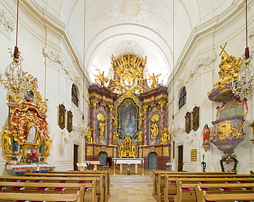 St. Mary's altar and high altar, Church of St. James the Elder, Kirchberg, Bucklige Welt, Lower Austria, Austria, Europe
