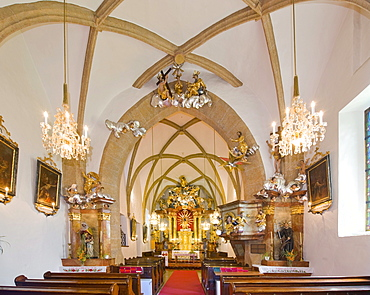 Interior view of Maria Namen church, late Romanesque early Gothic style, Baroque interior furnishing, Moenichkirchen, Bucklige Welt region, Lower Austria, Austria, Europe