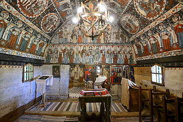 Frescoes in a wooden church, Astra open-air museum, Sibiu, Romania, Europe