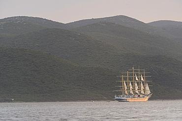 5 masted sailing cruise ship, Royal Clipper, off the island of Korcula, Peljesac Peninsula, Croatia, Europe