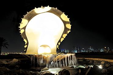 """The Pearl"" monument on the Corniche, Doha, Qatar, Arabian Peninsula, Persian Gulf, Middle East, Asia"
