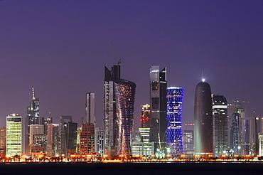 Skyline of Doha, West Bay District, Doha, Qatar, Arabian Peninsula, Persian Gulf, Middle East, Asia