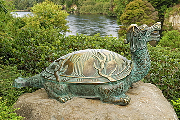 Bronze turtle, mythical creatures, Japanese Garden of Contemplation, Hamilton Gardens on the Waikato River, Hamilton, North Island, New Zealand