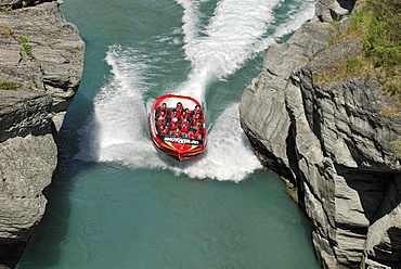 Jet boat, speed boat on the Shotover River, Queenstown, South Island, New Zealand