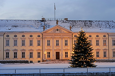 Main entrance of Bellevue Palace, residence of the German Federal President, with a Christmas tree at Christmas season, Berlin, Germany, Europe