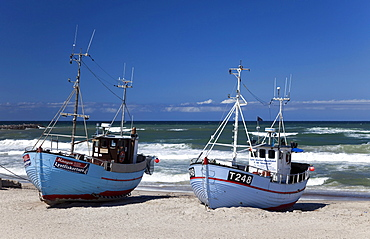 Fishing boats on the beach of Norre Vorupor, Noerre Vorupoer, North Sea, Thy district, northern Jutland, Jutland peninsula, Denmark, Europe