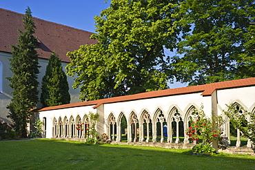 Cloister, Kloster Kirchberg monastery, Sulz am Neckar, Black Forest, Baden-Wuerttemberg, Germany, Europe