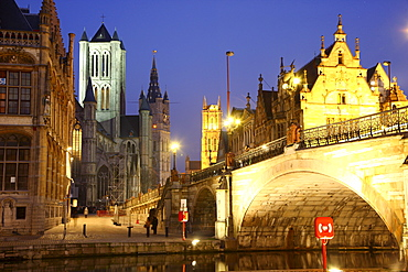 St. Michielsbrug bridge across the Leie River, view of the historic district with Saint Nicholas' Church, Sint-Niklaaskerk church and the Belfry of Ghent, a medieval tower at the back, Ghent, East Flanders, Belgium, Europe