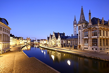 Leie River, view of the historic district, the former post office on the right, Ghent, East Flanders, Belgium, Europe