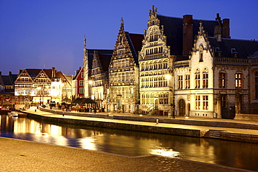 Leie River, view of the historic district, Ghent, East Flanders, Belgium, Europe