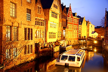 Leie River, view of the historic district, on Burgstraat street, canal cruise, Ghent, East Flanders, Belgium, Europe