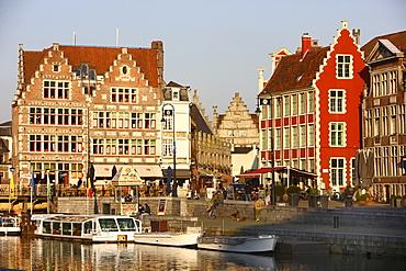Houses on the river Leie, Metselaarshuis, old town, Ghent, East Flanders, Belgium, Europe
