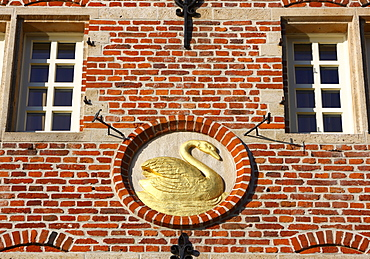 Golden Swan on a house facade, old town, Ghent, East Flanders, Belgium, Europe