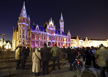 Moving projections on the Post Plaza building on Korenmarkt square, Ghent Light Festival, East Flanders, Belgium, Europe