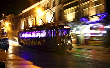 Wattman tram, colorfully illuminated while driving around, Ghent Light Festival, East Flanders, Belgium, Europe