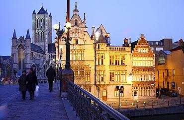 St. Michielsbrug bridge across the Leie River, view of the historic district with Saint Nicholas' Church, Sint-Niklaaskerk church, Ghent, East Flanders, Belgium, Europe