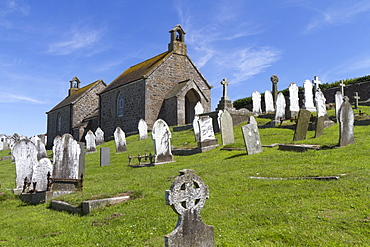 Old cemetery with a chapel, St. Ives, Cornwall, England, United Kingdom, Europe