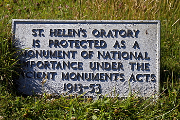 Sign at St. Helen's Oratory, a chapel at Cape Cornwall, Cornwall, England, United Kingdom, Europe