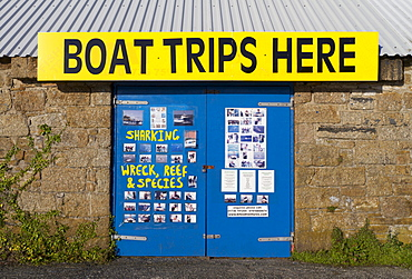Sign for boat trips, Penzance, Cornwall, England, United Kingdom, Europe