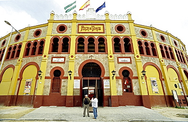 Bullfighting arena built in 1900, Sanlucar de Barrameda, Costa de la Luz, Andalusia, Spain, Europe