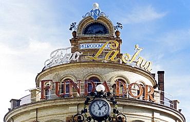 Building with advertising for a brand of Sherry, Pedro Domecq, Jerez de la Frontera, Costa de la Luz, Andalusia, Spain, Europe