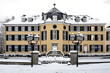 Cromford mansion in winter, LVR Industrial Museum, Ratingen, Lower Rhine region, North Rhine-Westphalia, Germany, Europe