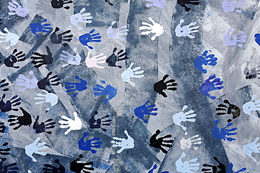 "Coloured hand prints on the remants of the Berlin Wall, painting ""Touch the Wall"" by Christine Kuehn, East Side Gallery, Friedrichshain district, Berlin, Germany, Europe"