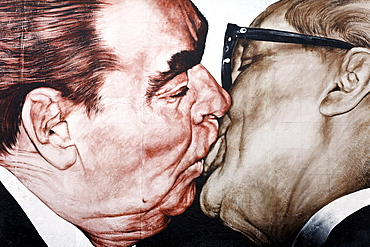 Brotherly kiss, Brezhnev kissing Honecker, painting by Dimitri Wrubel, Dmitri Vrubel, on the remants of the Berlin Wall, East Side Gallery, Friedrichshain district, Berlin, Germany, Europe