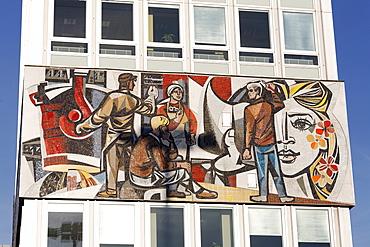 Monumental mosaic frieze, Haus des Lehrers building, Berliner Congress Center, BCC, Alexanderplatz square, Mitte district, Berlin, Germany, Europe