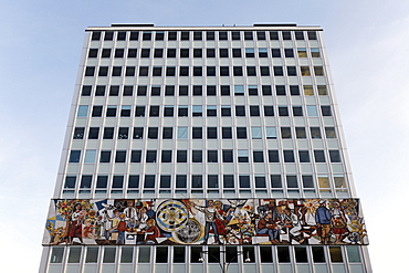 Haus des Lehrers building with a monumental mosaic frieze, Berliner Congress Center, BCC, Alexanderplatz square, Mitte district, Berlin, Germany, Europe