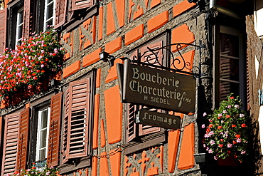 Butcher's shop, hanging sign, Ribeauville, Alsace Wine Route, France, Europe