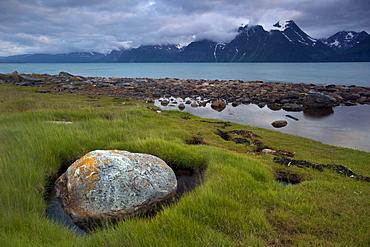 The Lyngen Alps, seen from SpÂkenes, KÂfjord, Troms, Norway, Europe