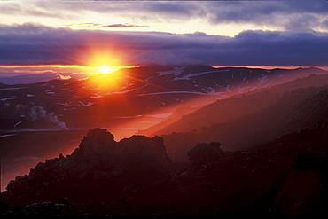 Sunset on Hrafntinnusker mountain, Laugavegur hiking trail, Fjallabak Nature Reserve, Highlands of Iceland, Europe