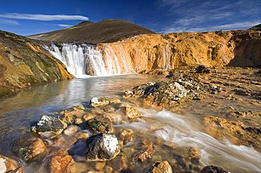 Bicolored waterfall near Hauhverir, Fjallabak Nature Reserve, Highlands of Iceland, Iceland, Europe